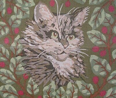 NEW! Victorian CAT Tapestry PILLOW Tiger Tabby Needlepoint Canvas Sara Davenport