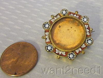19C antique Italian MICROMOSAIC PICTURE FRAME PIN brass round c-hook