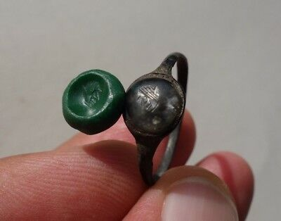 late Roman ancient bronze with glass intaglio ring, displayed a noble face