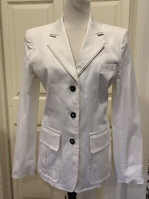 609532579d1 YSL Yves Saint Laurent Rive Gauche White Cotton Blazer Jacket 42 8 10 EUC