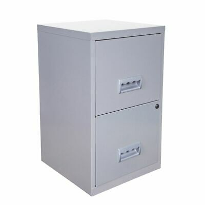 2 Drawer Filing Cabinet Pierre Henry A4 Steel Lockable - Silver- QUALITY