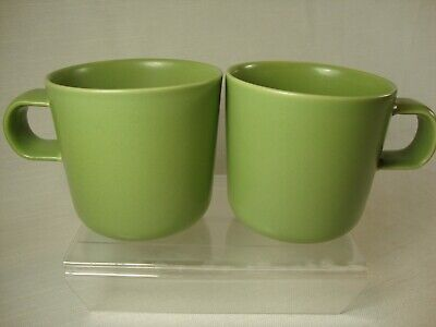 Hoganas Keramik Set of 2 Nilsson Green Coffee Mugs 10 oz. Made in Sweden 3 3/8""