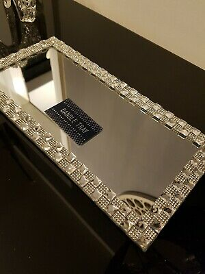 Lovely Mirror candle tray plate diamante lace wedding candle plate tray 32x16cm