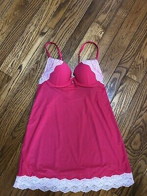 Victorias Secret Sexy Nightie Nightgown Slip Size 34B Pink With Lace