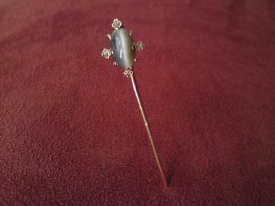 Antique 19thc French 18ct gold Cat's Eye Chrysoberyl Rose cut Diamond stick pin