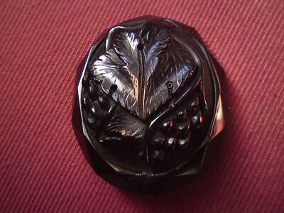 Antique Victorian Carved relief grape vines Whitby Jet Brooch
