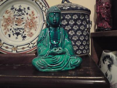 20th C Japanese Chinese turquoise blue monochrome glaze pottery Zen Buddha