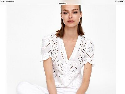 43462af605fb32 New Zara Off White Die - Cut Embroidered Blouse Top Xs Ecru Embroidery