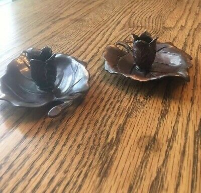 Occupied Japan Copper Bronze Tone Metal Leaf Candle Holders