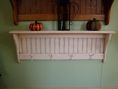 Coat Rack Wall Hanging Hallway Shelf with Hooks for Coats In Rustic Distressed