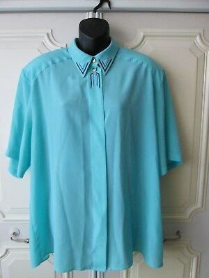 Vintage Separa Fink Turquoise Blue Embroidered Collar Button Shirt Blouse UK18