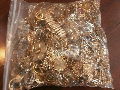 9.1 Pounds Gold Plated Toned Jewelry Lot Recovery Scrap Harvest Crafts