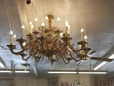 "Antique Large Massive Brass French gilded Chandeleirs set 50"" Roud"