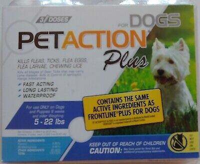 PetAction Plus Flea & Tick Drops for Small Dogs, 5-22 lbs 3 DOSES