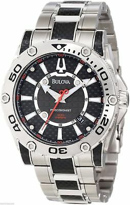 NEW Bulova Men's 96B156 Precisionist Champlain Black carbon fiber Watch