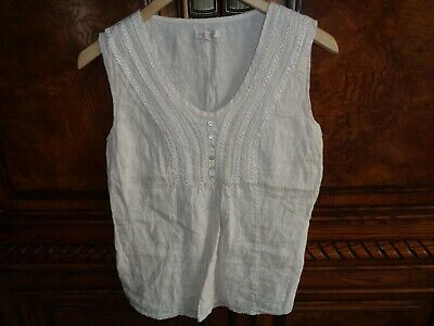 ead6ae5932 LINA TOMEI MADE in Italy linen sleeveless shirt Large -  10.00 ...