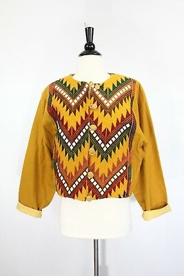 Vintage Aztec Coat Womens Cropped Guatemalan Jacket Embroidered Lined yellow