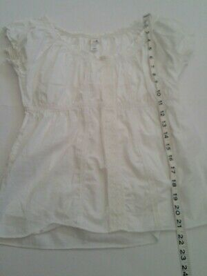 6c581ce90c0cb0 Women White Ruched Peasant Style Blouse cap Sleeve Top Size XS eyelet scoop  neck