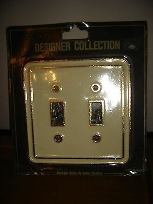 Brass & Cream Double Light Switch Plate Outlet Cover