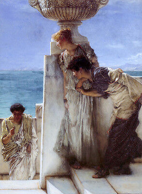 Oil painting Lawrence Alma-Tadema - Young girls & young man in landscape by sea