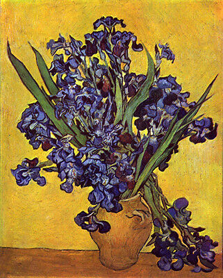 Dream-art Oil painting Vincent Van Gogh Vase Irises Against Yellow Background