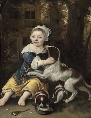 Art Oil young girl full-length in a white dress with a spaniel and two puppies
