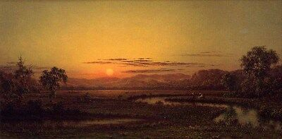 Oil painting Martin Johnson Heade - Two Fishermen in the Marsh, at Sunset canvas