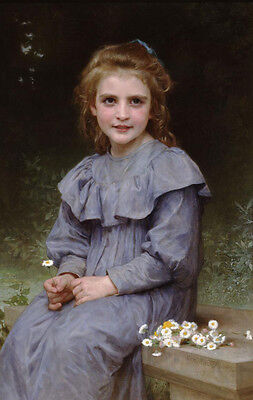 Art Oil painting Bouguereau - Nice Young girl portrait & flowers Daisies 36""