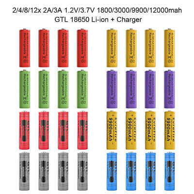 2/4/8/12x 18650 1800/3000/9900/12000mAh 3.7V Li-ion Rechargeable Battery Charger