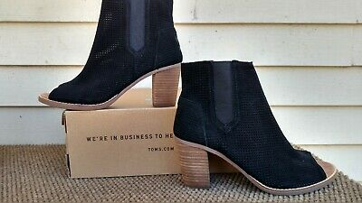 c63877c4eb1 Toms Womens Fashion Booties Majorca Peep Toe Black Suede Perforated New 7  1 2
