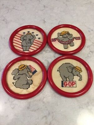 Vintage GOP G.O.P.  Republican Hand Made Cross Stitch Drink Coasters