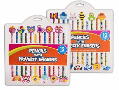 144 Pack (12 x 12 Pack) Pencils with novelty Erasers - 2 Mix Packs - Wholesale B