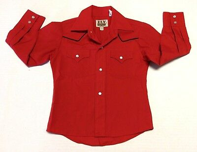 EUC Ely Cattleman Boys Red w/ Black Piping Western Snap Button Shirt Rodeo XS