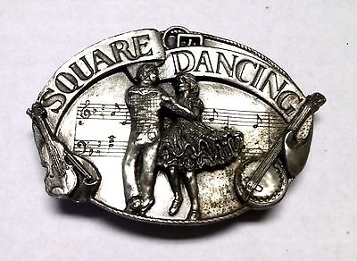 Vintage Siskiyou Square Dancing Country Western Belt Buckle Pewter USA 1985