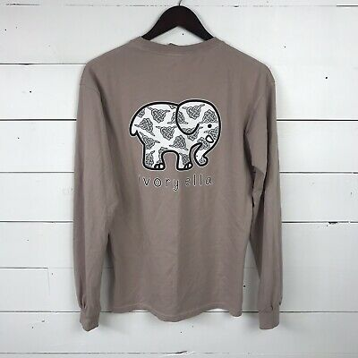 1d96ad777 Ivory Ella womens Small pocketed Taupe Long Sleeve organic Tee Shirt  Elephant