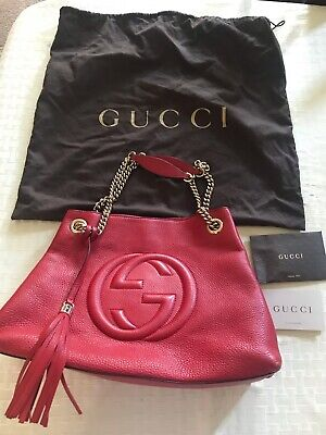 eb3a4de37d GUCCI Soho Medium Leather Chain Shoulder Bag In Beautiful Red color!