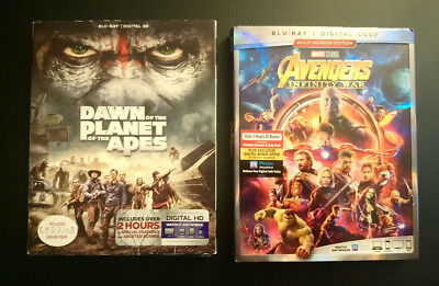 Marvel Avengers Infinity War & Dawn of the Planet of the Apes Blu-ray Movies New