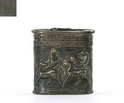 Vintage Chinese Sterling Silver Repousse Opium Box with 9 Horse Mk 72 Gram