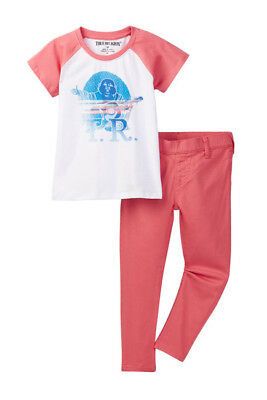 70fdf9659 True Religion Toddler Girl s outfit Short sleeve Buddha tee jeans set PINK  2T