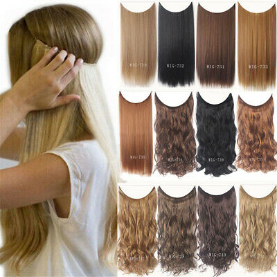 55cm Extension Cheveux lisse Ondulé Fil Invisible Transparent Monobande