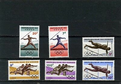 Congo 1964 Summer Olympic Games Tokyo Set Of 6 Stamps Mnh