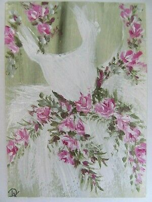 ACEO Original Acrylic Painting Dress Roses Wedding Ballet Tutu Art Dixie Stovall