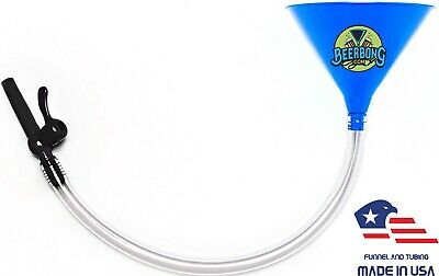 Large Beer Bong Funnel w/ Black Valve (2' Long) Fun for Tailgating |Blue Funnel