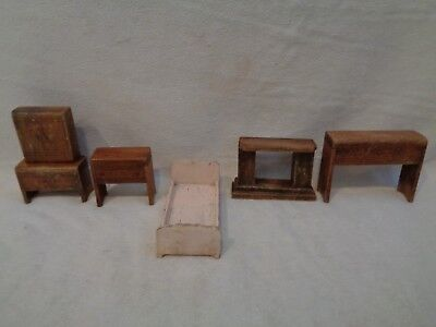 Antique 1920S Primitive Hand-Made Child's Doll Toy Wooden Fire Place Table Lot