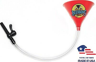 Large Beer Bong Funnel w/ Black Valve (2' Long) Fun for Tailgating | Red Funnel