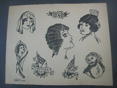 VINTAGE Tattoo Flash C.1940 Bill Moore..C.T.S.H.  11x14 Girls,Flag,Mother+