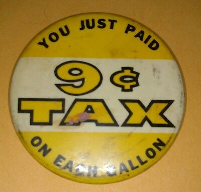 Vintage 1960's Tax Protest Pin Back Button