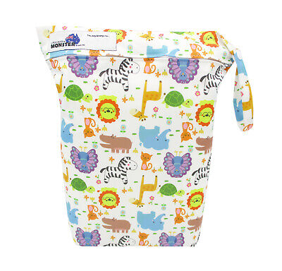 Baby Animal Large Zip Dry & Wet Bag - Baby Cloth Nappies, Waterproof