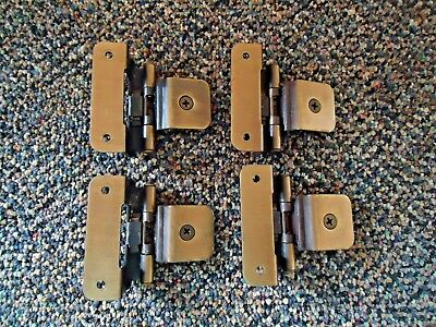 "Set Of 4 Brass Plated Cabinet Door Hinges "" GREAT COLLECTIBLE USEABLE SET """