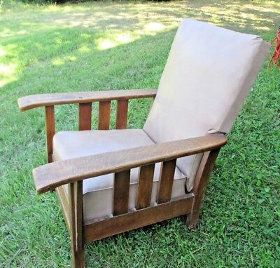 Antique Mission Arts & Crafts Oak Royal Easy Chair With Footrest